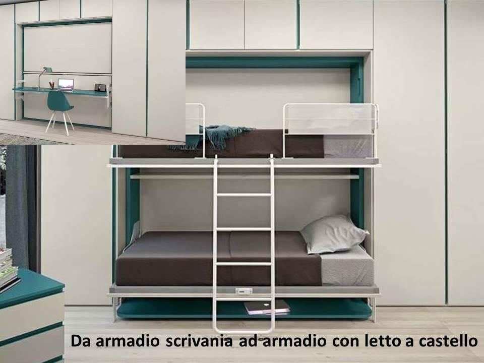armadio con scrivania trasformabile in letto a castello