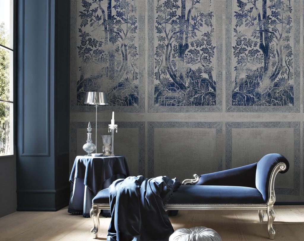 tappezzeria in camera da letto stile vintage blu.