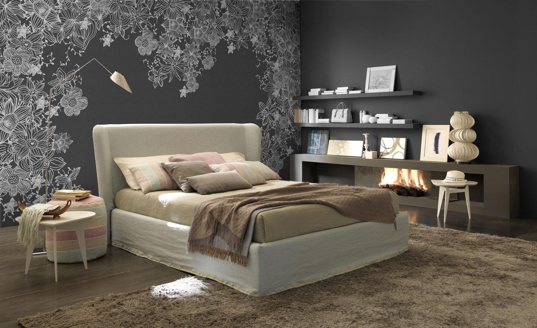 tappezzeria toni del grigio per camera da letto