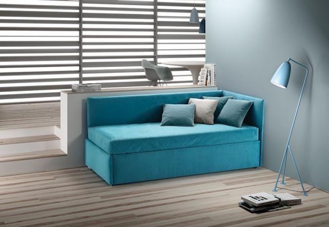 divano letto singolo con rete estraibile e cassetti