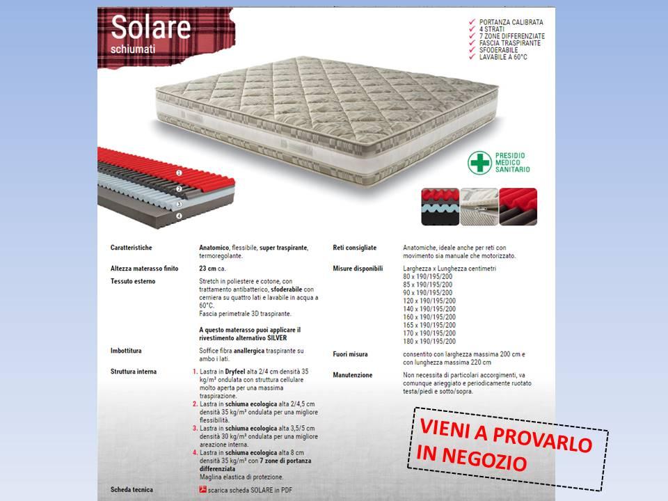 materasso Solare a 4 strati con memory  riposante e termoregolante e rivestimento antibatterico silver